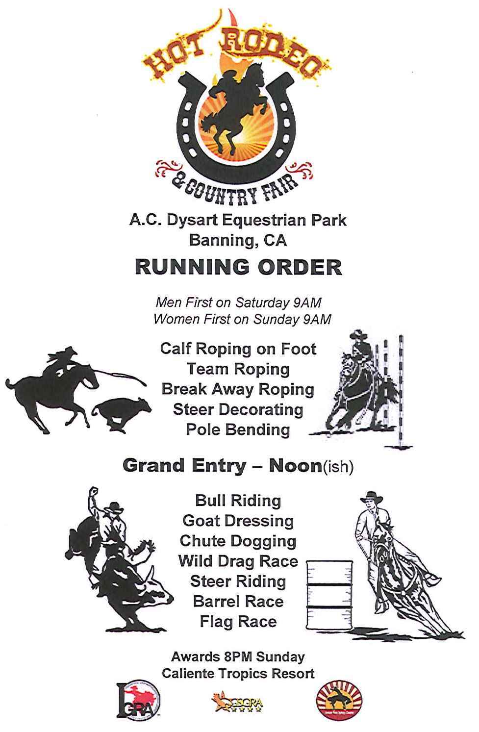 Hot Rodeo & Country Fair Event Running Order